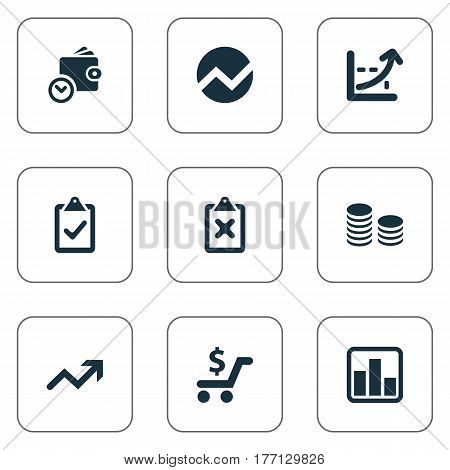 Vector Illustration Set Of Simple Banking Icons. Elements Cross On Clipboard, Wallet, Rate And Other Synonyms List, Rate And Check.