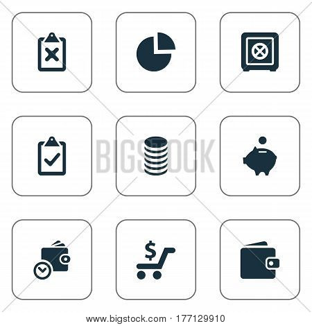 Vector Illustration Set Of Simple Finance Icons. Elements Billfold, Piggy Bank, Cross On Clipboard And Other Synonyms Check, Earnings And Pig.