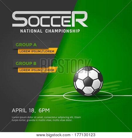 Soccer or football national championship banner or poster template. Vector illustration