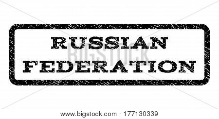 Russian Federation watermark stamp. Text tag inside rounded rectangle frame with grunge design style. Rubber seal stamp with unclean texture. Vector black ink imprint on a white background.