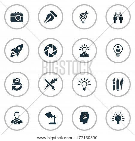 Vector Illustration Set Of Simple Visual Art Icons. Elements Business Discussion, Leader, Project Aim And Other Synonyms Shot, Businessman And Fantasy.