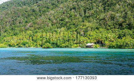 Homestay Bamboo hut on Monsuar Island. Raja Ampat, Indonesia, West Papua.