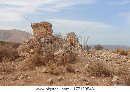 Ruins of the ancient temple of the Greek fertility and corn goddess Demeter at Aptera near Chania in the Aegean island of Crete