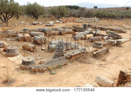 A view of the remains of the Roman Villa with the peristyle courtyard at Aptera, near Chania, on Crete, Greece