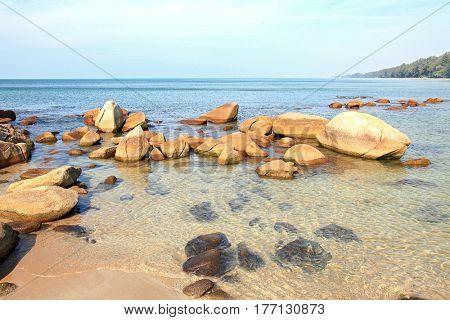 rocky coast and beach in Thailand