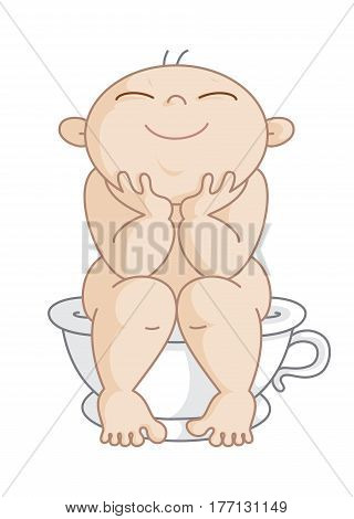 Potty Boy. Vector Illustration of a Happy Little Boy Sitting on his Potty. This figure can be used as men's restroom sign.