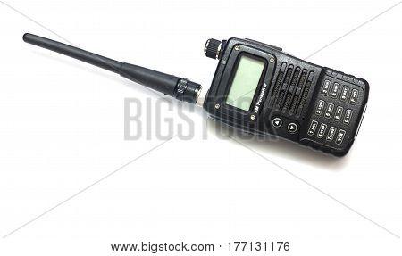 isolated black radio communication on white background