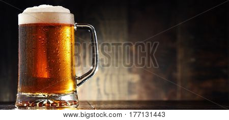 Composition With Glass Of Beer On Wooden Background