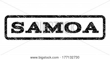 Samoa watermark stamp. Text tag inside rounded rectangle frame with grunge design style. Rubber seal stamp with scratched texture. Vector black ink imprint on a white background.