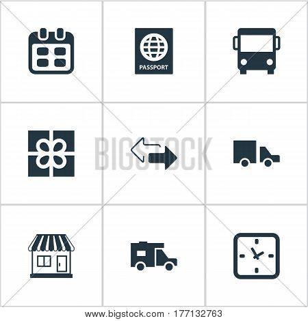 Vector Illustration Set Of Simple Distribution Icons. Elements Caravan, Minutes, Van And Other Synonyms Identity, Date And Agenda.
