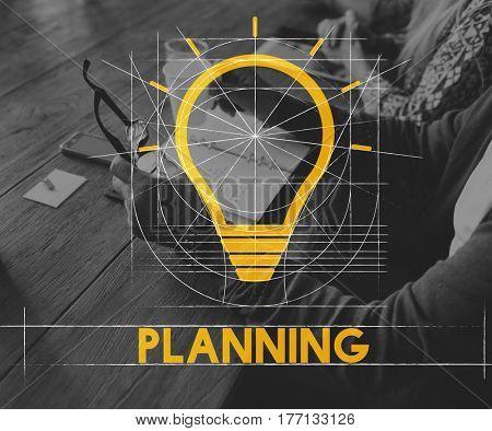 Planning Retirement Plan Bulb Icon Sign