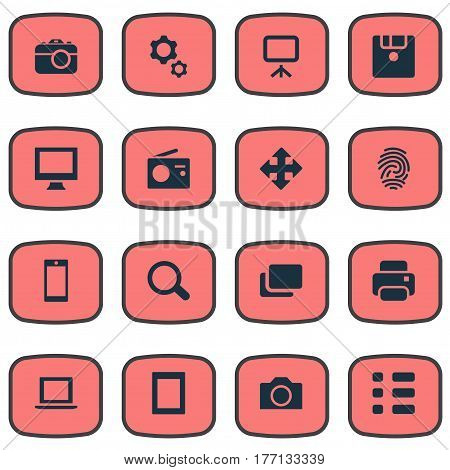 Vector Illustration Set Of Simple Digital Icons. Elements Touch Computer, Search, Schedule And Other Synonyms Laptop, Tuner And Tablet.