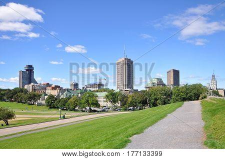 Quebec Modern City Skyline, view from Parc des Champs-de-Bataille (Champs-de-Bataille National Battlefields Park), Quebec City, Quebec, Canada.