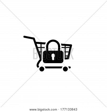Secure Shopping Icon. Flat Design. Business Concept. Isolated Illustration
