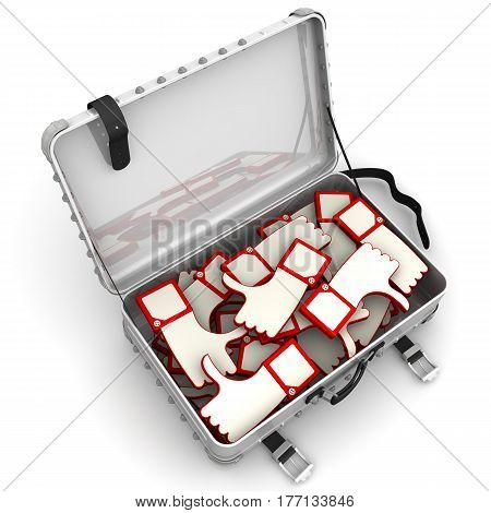 Suitcase with reviews. Open suitcase with hand gestures thumbs-up (like) and thumbs-down (dislike) on white surface. Isolated. 3D Illustration