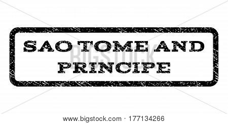 Sao Tome and Principe watermark stamp. Text tag inside rounded rectangle frame with grunge design style. Rubber seal stamp with dirty texture. Vector black ink imprint on a white background.
