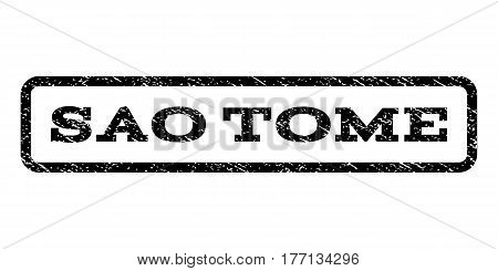 Sao Tome watermark stamp. Text tag inside rounded rectangle with grunge design style. Rubber seal stamp with scratched texture. Vector black ink imprint on a white background.