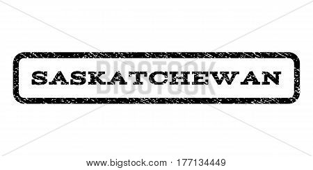 Saskatchewan watermark stamp. Text caption inside rounded rectangle with grunge design style. Rubber seal stamp with dirty texture. Vector black ink imprint on a white background.