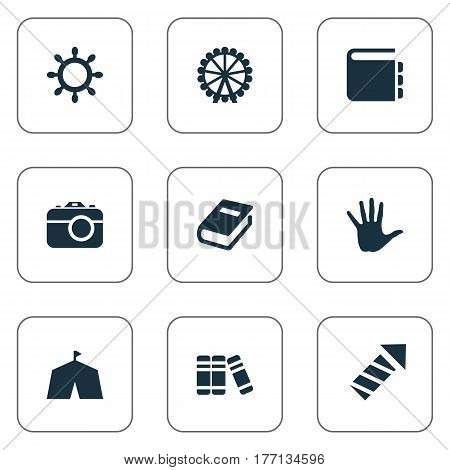 Vector Illustration Set Of Simple Child Icons. Elements Dictionary, Rudder, Ferris Wheel And Other Synonyms Firework, Tent And Rudder.