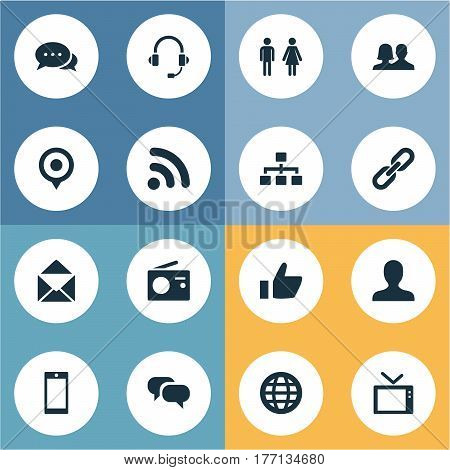 Vector Illustration Set Of Simple Transmission Icons. Elements Headphone, Letter, Thumb And Other Synonyms Friendship, Vote And Chain.