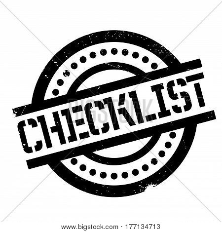 Checklist rubber stamp. Grunge design with dust scratches. Effects can be easily removed for a clean, crisp look. Color is easily changed.