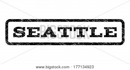 Seattle watermark stamp. Text caption inside rounded rectangle frame with grunge design style. Rubber seal stamp with scratched texture. Vector black ink imprint on a white background.