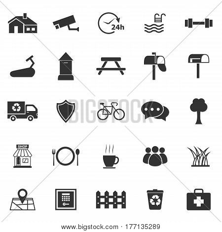 Village icons on white background, stock vector