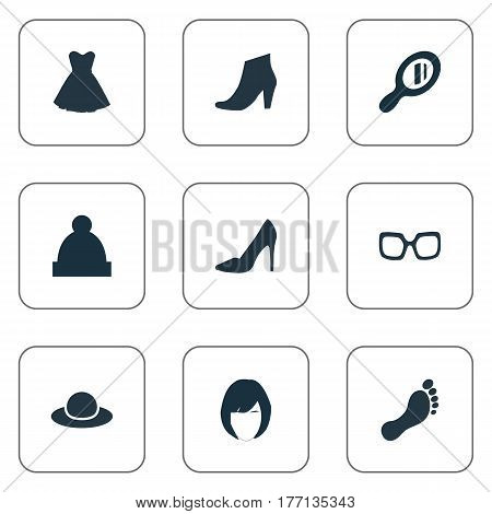 Vector Illustration Set Of Simple Dress Icons. Elements Attire, Footwear, Footwear And Other Synonyms Optic, Hat And Cloth.