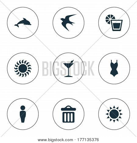 Vector Illustration Set Of Simple Beach Icons. Elements Male, Sunlight, Garbage And Other Synonyms Dustbin, Seagull And Man.