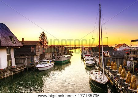Fishtown in Leland, Michigan at sunset
