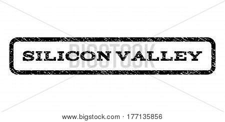 Silicon Valley watermark stamp. Text tag inside rounded rectangle with grunge design style. Rubber seal stamp with dust texture. Vector black ink imprint on a white background.