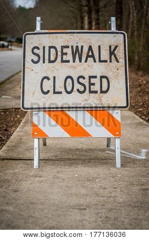 Dirty Sidewalk Closed Sign with Copy Space Below