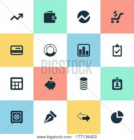 Vector Illustration Set Of Simple Financial Icons. Elements Supervision List, Calculator, Earnings And Other Synonyms Supervision, Accounting And Human.