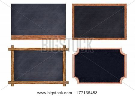 Chalkboard wood frame collection with black surface for message board signs Isolated on white background With copy space for adding more text. (Clipping path included for design work)