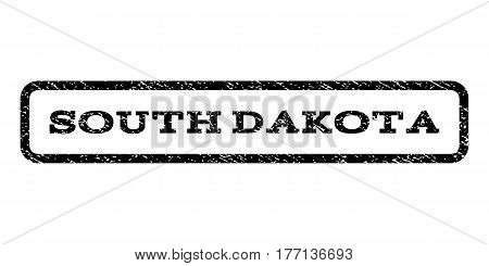 South Dakota watermark stamp. Text tag inside rounded rectangle frame with grunge design style. Rubber seal stamp with unclean texture. Vector black ink imprint on a white background.