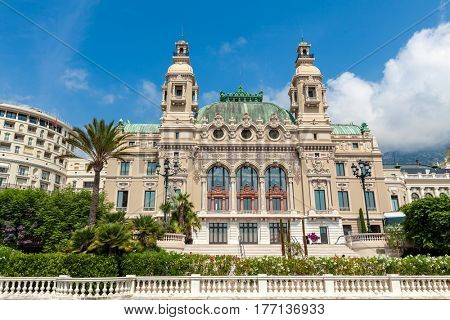 Exterior view of Salle Garnier - opera houses located in Monte Carlo, Monaco.