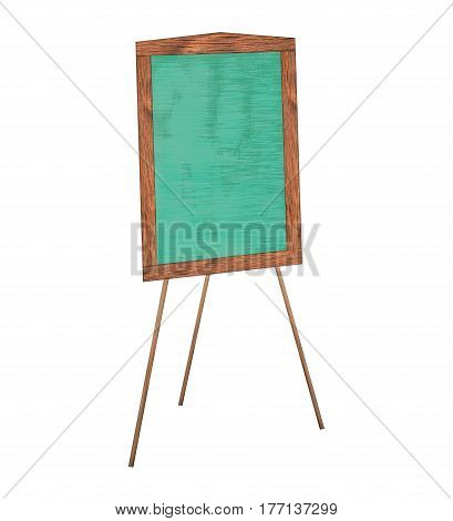 Presentation easel drawing chalkboard Isolated on white background Memo board or message board stand Template mock up for adding your design and adding more text. (Clipping path included)