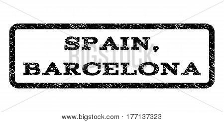 Spain, Barcelona watermark stamp. Text tag inside rounded rectangle with grunge design style. Rubber seal stamp with scratched texture. Vector black ink imprint on a white background.
