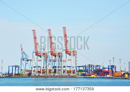 Port cargo crane and container ready for shipment