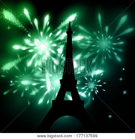 Vector illustration of shiny eiffel tower with fireworks