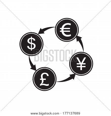 money transfer Icon Money convert icon. Euro Dollar. Flat design style.