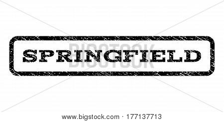 Springfield watermark stamp. Text caption inside rounded rectangle with grunge design style. Rubber seal stamp with scratched texture. Vector black ink imprint on a white background.