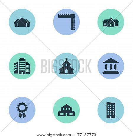 Vector Illustration Set Of Simple Structure Icons. Elements Reward, Residential, Residence And Other Synonyms Construction, Booth And Edifice.