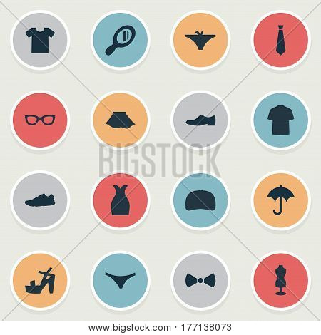 Vector Illustration Set Of Simple Clothes Icons. Elements Exercise Foorwear, Glasses, Make-Up Glass And Other Synonyms Suit, Cloth And Male.
