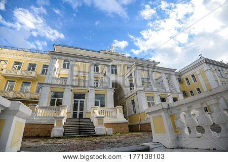 VLADIVOSTOK, RUSSIA - OCTOBER 8: Building of Central military clinical sanatorium near Vladivostok . on october 8, 2016 in Vladivostok, Russia