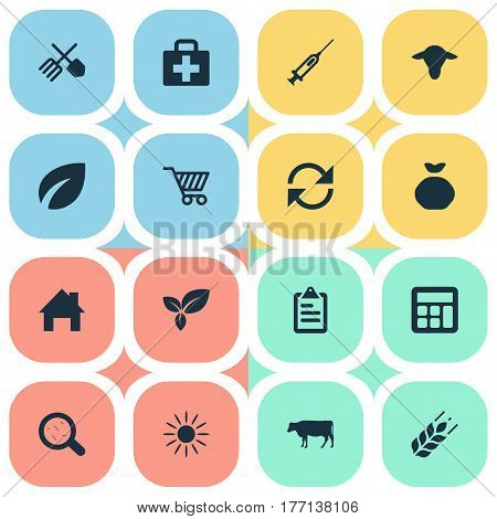 Vector Illustration Set Of Simple Agricultural Icons. Elements Wheat, Refresh, Cart And Other Synonyms Farm, Data And Virus.