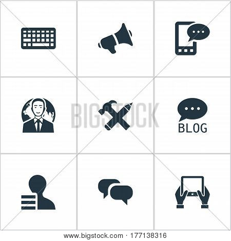 Vector Illustration Set Of Simple Blogging Icons. Elements Gossip, Loudspeaker, Repair And Other Synonyms Phone, Keypad And Man.