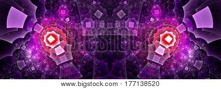 A mirror image of a strange polygonal pattern.