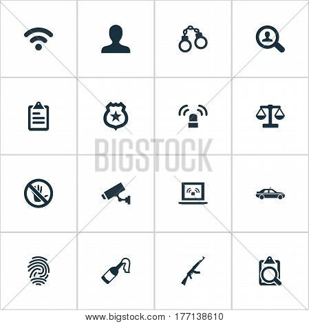 Vector Illustration Set Of Simple Fault Icons. Elements Automobile, Safety, Touch Forbidden And Other Synonyms Equal, Molotov And Safety.
