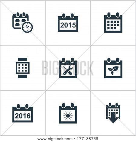 Vector Illustration Set Of Simple Time Icons. Elements Annual, Date, History And Other Synonyms Almanac, Hour And Agenda.